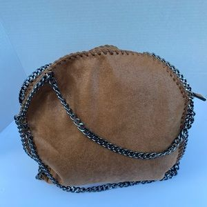 Beautiful vegan suede Chain link handle purse